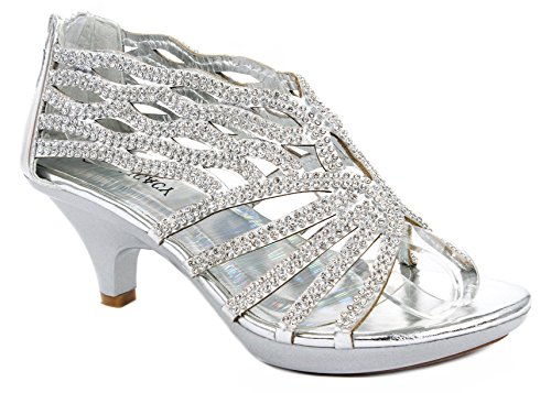 (Angel76 Silver Dazzling Sparkle Rhinestone Cut Out Strappy Dress Mid Heel Pump Sandals-7)