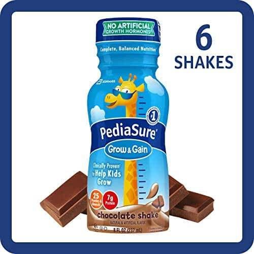 PediaSure Grow & Gain Kids' Nutritional Shake, with Protein, DHA, and Vitamins & Minerals, Chocolate, 8 fl oz, 6-Count