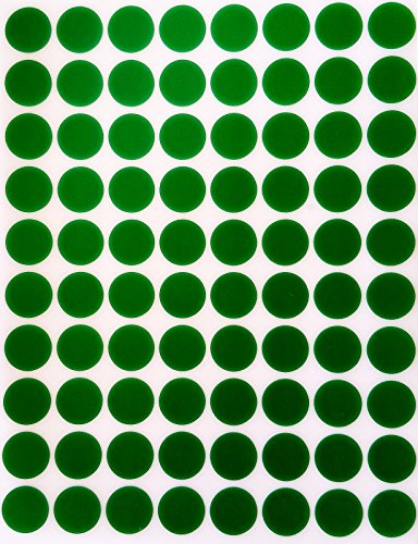"Color Coding Labels 1/2"" Round - Dot Stickers -- Half inch rounds GREEN sticker -- 1200 pack"