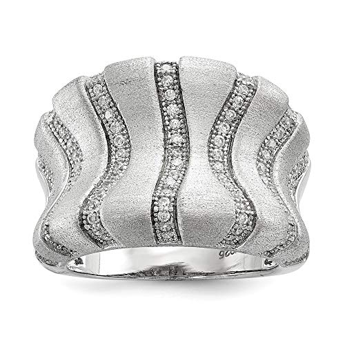 Roy Rose Jewelry Sterling Silver & CZ Brilliant Embers Brushed Finish Band Ring Size 8