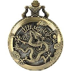 SIBOSUN Ancient Chinese Dragon Pocket Watch Chain Box Antique Bronze Hollow Case Quartz