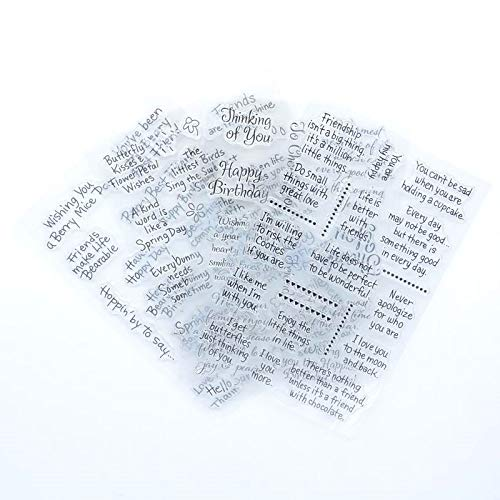 (Welcome to Joyful Home 4pcs/Set Different Sentiments Rubber Clear Stamp for Card Making Decoration and Scrapbooking)