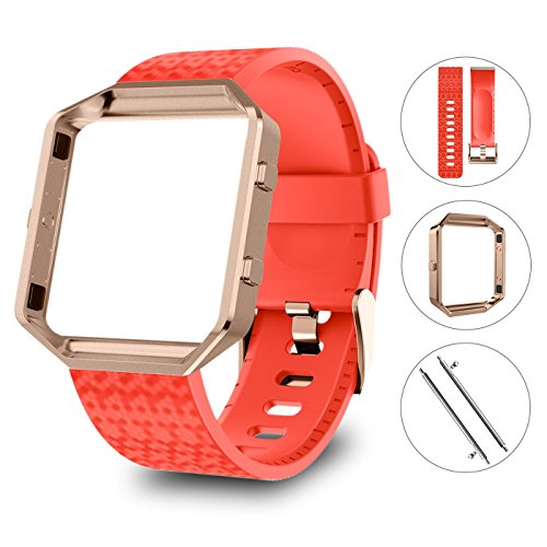 LEEFOX Compatible Fitbit Blaze Bands with Frame, Sport Silicone Replacement Strap for Fitbit Blaze Smart Fitness Watch Accessory Wristbands Small, Laser Red Bracelet w/Rose Gold Frame Men Women