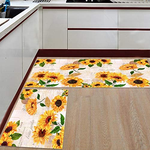 Mat Floor Carpet – Runner Rug Set of 2 – Illustration Doormat, Elagent Sunflower with Newspaper Backdrop Door Mats for Kitchen Grill Baths Tub Living Room Bedroom 23.6 x35.4 23.6 x70.9