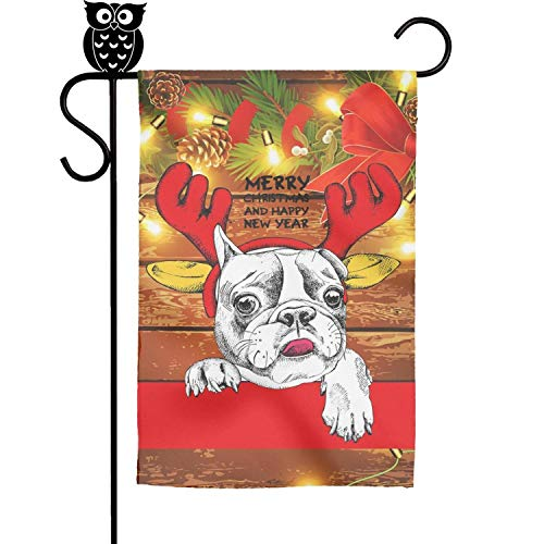 BoDu Pug French Bulldog Merry Christmas Garden Flag Yard Home Flag 18 x 12.5 Inch