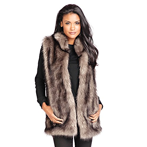 Donna Salyers Faux Fur Hook Vest (Grey Wolf, Medium) (Fabulous Furs Fur Vest)