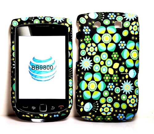 Green Diamond Wave Rubberized Snap on Hard Skin Shell Protector Cover Case for Blackberry Torch 9800 + Microfiber Pouch -