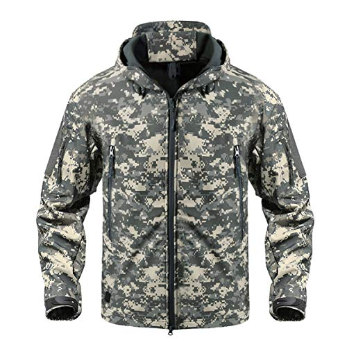 CRYSULLY Digital Jacket Hunting Camo Tactical Soft Shell Fleece Jackets for Men Waterproof Coat (Tactical Digital Camo)