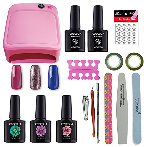 (COSCELIA Nail Art Tools Cure 36W UV Lamp Gel Polish Soak Off Base Coat Top Coat Gel Nail Polish Manicure Kits)