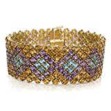 BRAND NEW Gemstone Bracelet with Citrine, Amethyst & Blue Topaz (52.5 CTW)