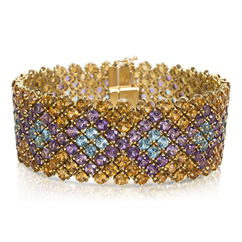 BRAND NEW Gemstone Bracelet with Citrine, Amethyst & Blue Topaz (52.5 CTW) by Loved Luxuries