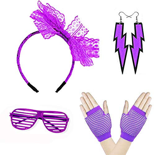 women 80s Costume Lace Bow Headband Fishnet Gloves Neon Lightning Earrings 1980s Accessories Theme Party Supplies Purple -