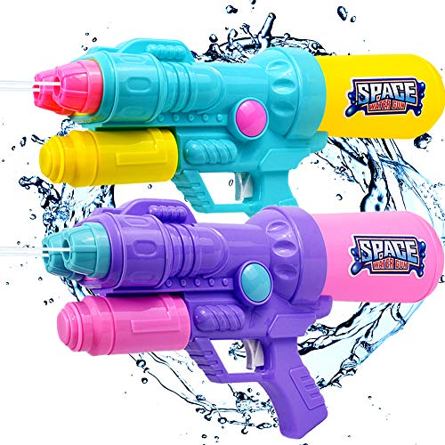 JUOIFIP 2 Pack Water Gun Super Water Blaster 2 Nozzles 1200cc High Capacity Pistol Squirt Gun Shoots 30-35 Ft Long Range Party Favor Summer Toys Swimming Pool Beach Sand Water Fight Toy Gun]()