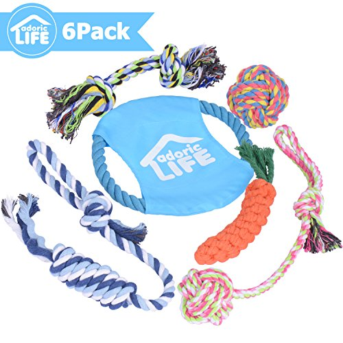 Adoric Life Dog Toys, Frisbee Puppy Toy Pet Chew Rope Toy for Small to Medium Dogs – Set of 6