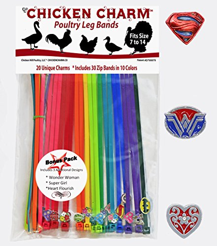 Peacock Butterfly Pictures (20 Chicken Charm Poultry Leg Bands - Includes Americas Favorite Super Hero's)