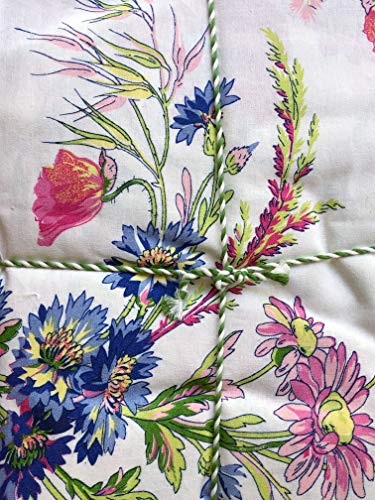 - April Cornell Fabric Tablecloth Wildflower Bouquets in Shades of Pink Yellow Green Blue Purple on Cream with a Floral Border - 54 Inches by 54 Inches