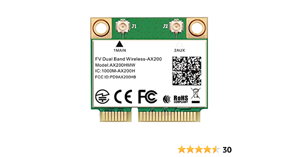 WiFi 6 Mini PCIe Network Card 2.4GHz 5GHz 802.11ax 3000Mbps 160Mhz Bluetooth 5.0 Wi-Fi 6 Adapter for Windows 10 2010 to 2016 Laptops Better Than 7260 AC Wi-Fi Card