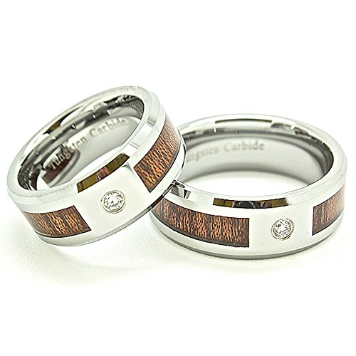 Matching 8mm Tungsten Carbide Wood Grain Inlay & Clear Solitaire Wedding Bands (See listing for sizes) by Blue Chip Unlimited