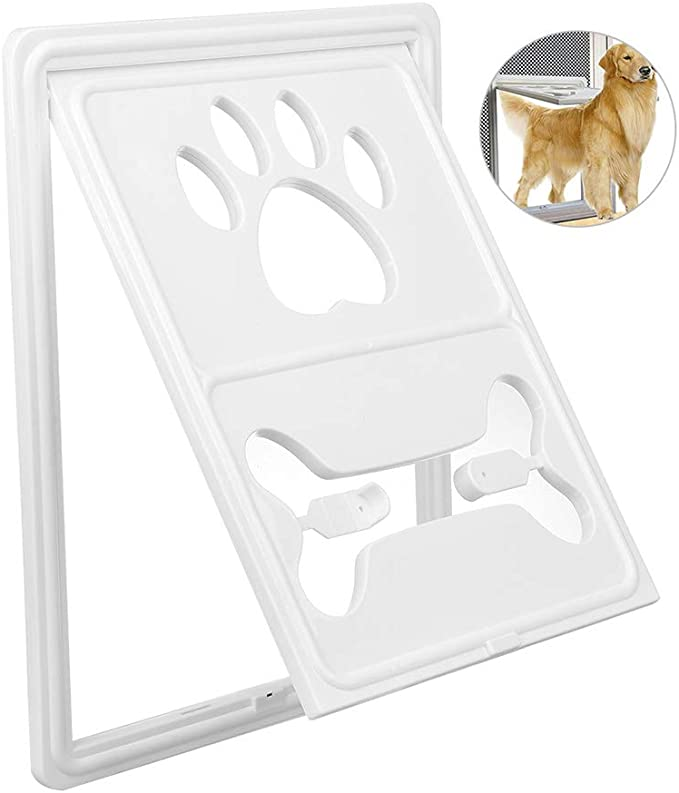 DOOKK Puerta para Mascotas, Puerta para Perros Solapa Puerta corredera Cerradura automática/con Cerradura para Perros pequeños y medianos y Gatos en Blanco y Negro marrón,White: Amazon.es: Hogar