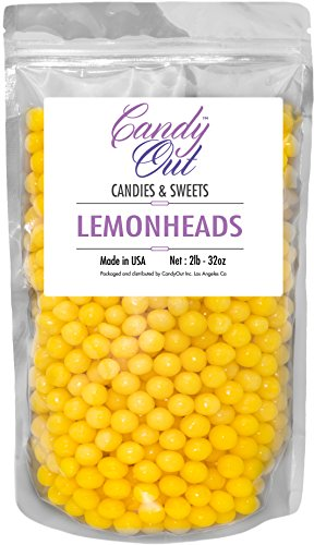 Unwrapped Bulk Candy (CandyOut - Lemonheads (2 Pound) 2lb - 32oz in sealed stand-up pouch bag)
