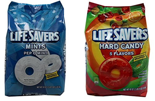 Life Savers Hard Candy, Individually Wrapped, Bundle Pack - Pep O Mint & 5 Flavors, 41oz Each bag, (Pack of 2) (Pack Pep)
