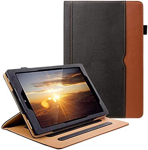 Grifobes All New Kindle Fire HD 10 Tablet (9th/7th Generation,2019/2017 Released) Cover Case with Card Slots, 360 Protection Multi-Angle Viewing Stand Auto Sleep/Wake for Fire HD10 - Black/Brown