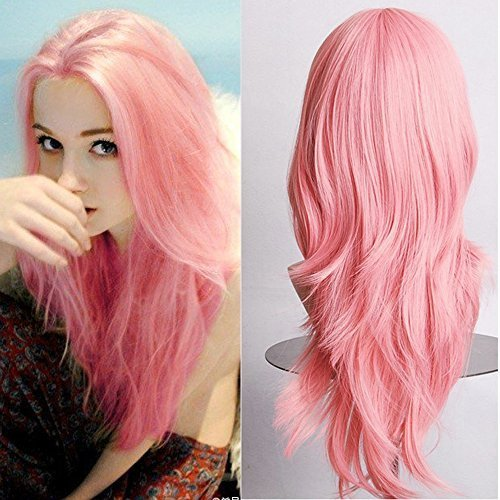 Long Parted Wig - Hallowee Anime Cosplay Synthetic Wig 11 Colors Japanese Heat Resistant Fiber Full Wig with Bangs Long Layered Curly Wavy Trendy 23'' / 58cm for Women Girls Lady Fashion and Beauty (pink)