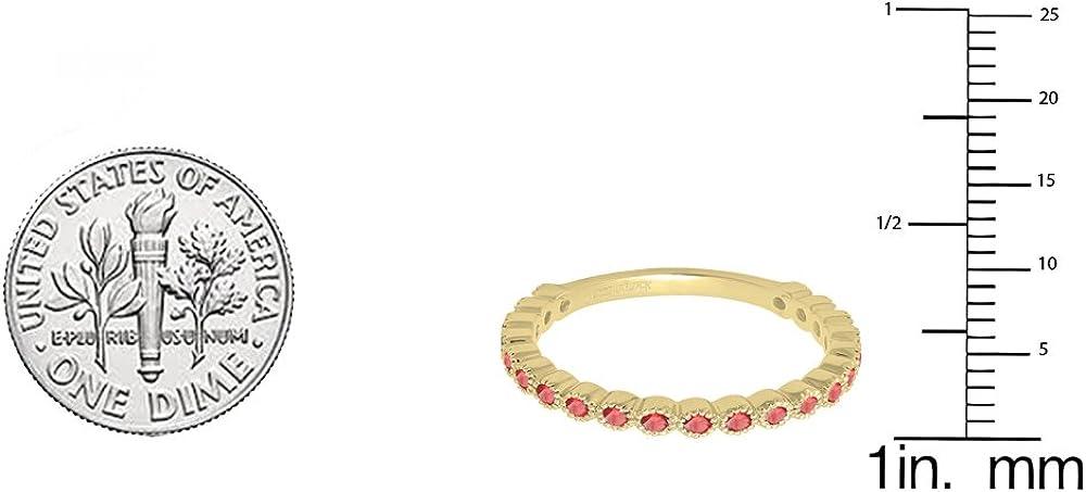 Yellow Gold Dazzlingrock Collection 14K Round Gemstone Eternity Stackable Anniversary Wedding Band