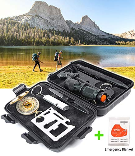 Revelook Emergency Survival Kit - Graduation Fathers Day Birthday Best Gifts for Men Son Dad Him Boy Hunter - 11 in 1 EDC Multitool Multifunction Camping Gear Fishing Earthquake Hunting Accessories -