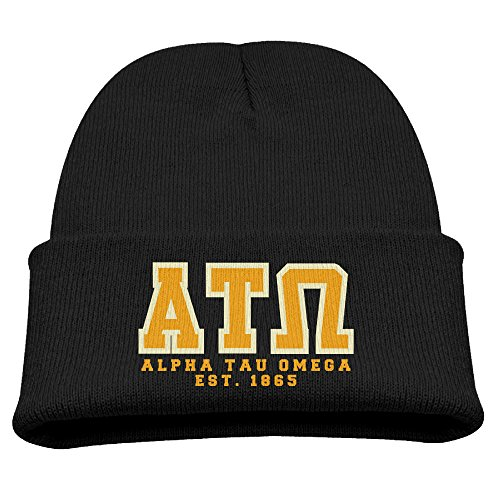 - Youth Wool Hat Cool Beanie Winter Alpha Tau Omega Beanie Cap Knitted Toboggans Beanie Black