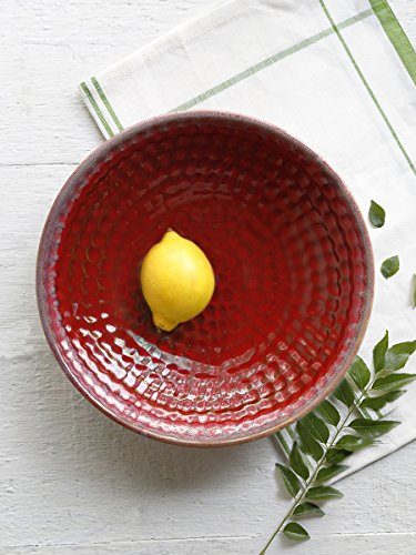Store Indya Ceramic Platter Serving Bowl Plate Handmade Kitchen Dining Serveware Accessory (Red)