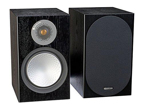 Monitor Audio Silver 100 Bookshelf Speaker Black Oak Pair (Walnut Veneer)
