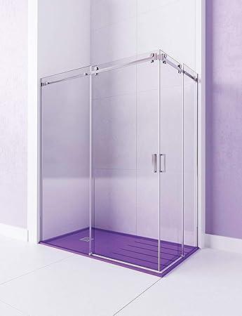 Modelo VELA - Mampara de ducha angular de 2 hojas fijas y 2 puertas correderas. - ACERO INOXIDABLE - Cristal 6 mm con ANTICAL INCLUIDO: Amazon.es: Bricolaje y herramientas
