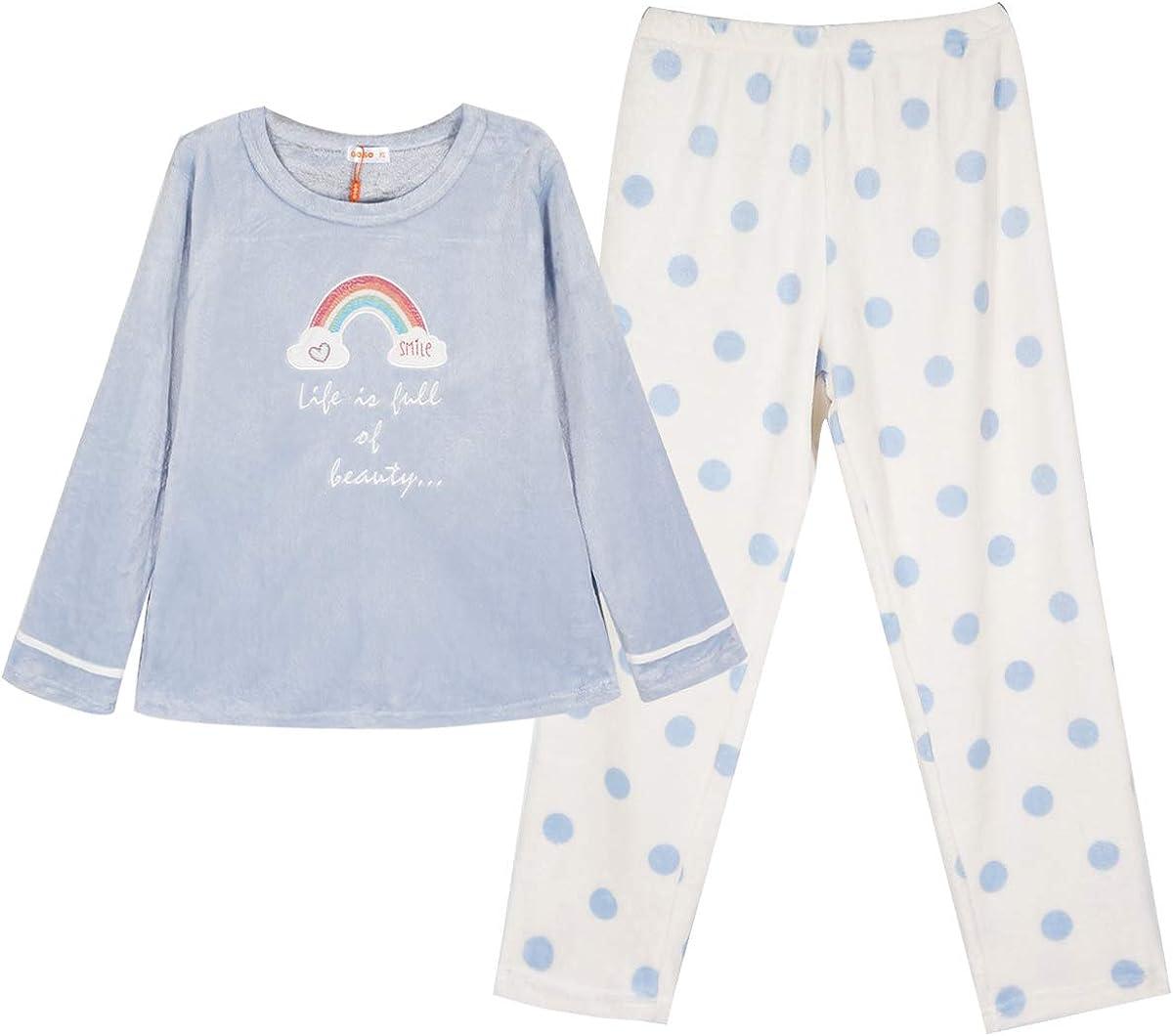 Pigiama e Pantaloni Lunghi per Adolescenti e Ragazze Pigiama da Bambina in Pile Caldo Invernale GOSO Pigiama da Bambina