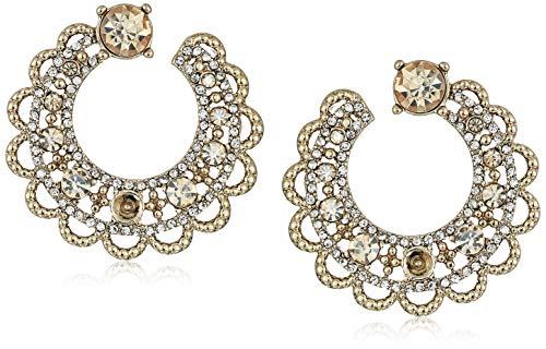 Marchesa Women's Gold Tone Swirl Hoop Earrings, Jet Hematite, 0 ()