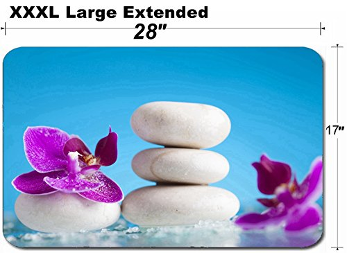 MSD Large Table Mat Non-Slip Natural Rubber Desk Pads Image ID 35620197 Spa Still Life with Pink Orchid and White Zen Stone in a Serenity Poo by MSD