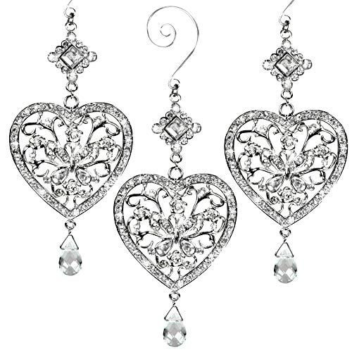 BANBERRY DESIGNS Heart and Butterfly Hanging Ornament - Clear Crystals and Filigree Ornament - Sparkly Silver Christmas Ornament - Silver Christmas Decorations- 3 Pack