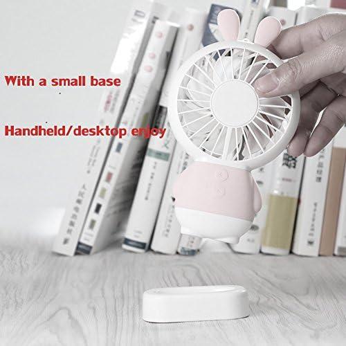 DULPLAY Mini USB FAN,Personal FAN,Mini handheld FAN,Led lights Student dormitory Cartoon USB rechargeable Quiet Office home Summer Outside 6x3x1inch B 15x8.6x2.2cm