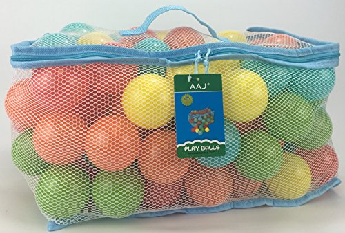 AAJ 100 Multi Coloured Play Balls (in Mesh Carry Bag with Handle)