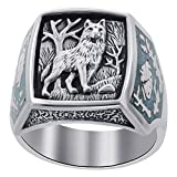Gem Avenue Men's 925 Sterling Silver Turquoise Gemstone Inlay Southwestern Style Wolf Ring