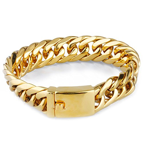 18k Gold Plated Heavy Metal Cuban Curb Link Chain Men's Bracelet Stainless Steel 8.66inch Length