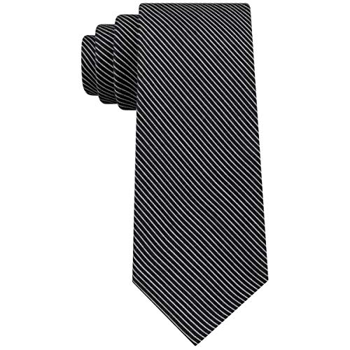 Calvin Klein Corbata de rayas delgadas para hombre, color negro ...