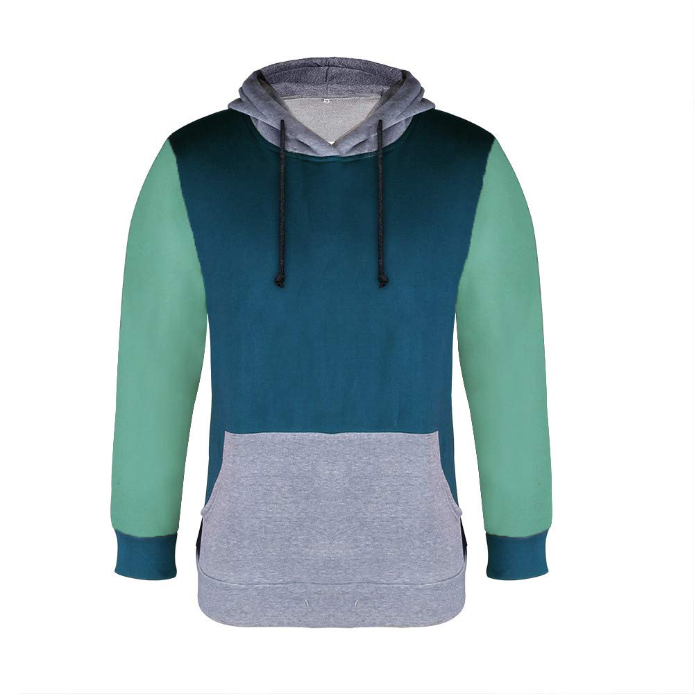 Inverlee-Mens Splicing Button Pullover Long Sleeve Hooded Sweatshirt Tops Blouse