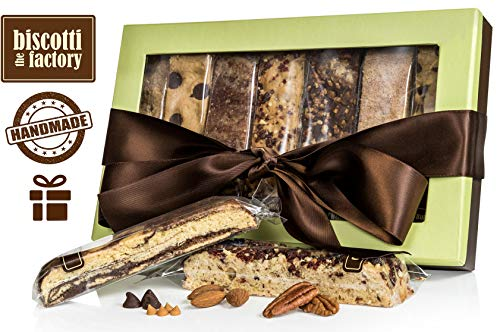 The Biscotti Factory, Combo Variety Pack, Biscotti Gift Box, Individually Wrapped Biscottis, Hand Crafted, Valentine's Gifts, Kosher Gift Baskets, Certified Kosher, No Added Preservatives (Classic)