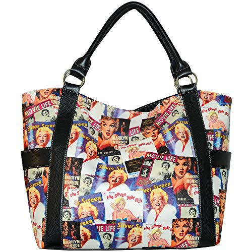 Marilyn Monroe Collage Large Purse Tote Bag, MM614BK