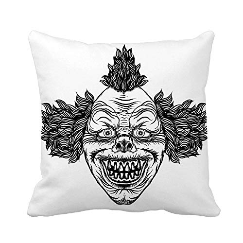 Awowee Throw Pillow Cover Creepy Scary Cartoon Clown Horror Movie Zombie Face Character 18x18 Inches Pillowcase Home Decorative Square Pillow Case Cushion Cover