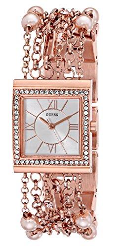 GUESS Women's U0140L3 Pearl Embellished Rose Gold-Tone Bracelet (Embellished Rose)