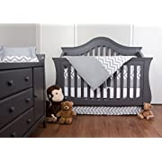 7 Piece Crib Nursery Bedding Set with Bumper by Simon's Baby House – 100% Cotton – Gray and White Chevron Zigzag Design for Boys & Girls – 52  x 28  – Fits Regular Size Cribs