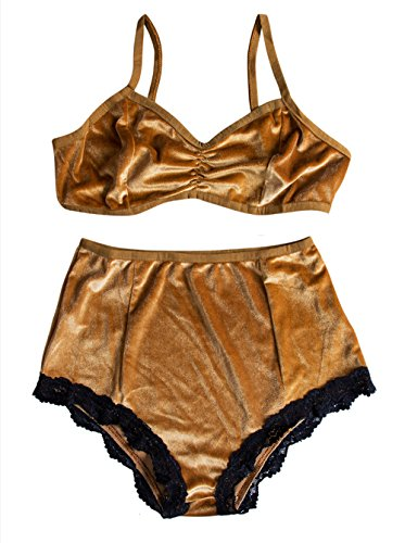 Women's Vintage 2 Pieces Velvet Bra & High Waist Lace Panties Lingerie Set (US 4/Tag Size S, Yellow)
