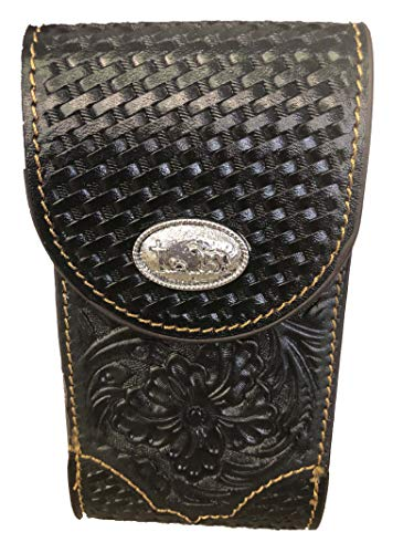 Leather Floral Tooled Cowboy Praying Cross Concho Belt Loop Phone Pouch (Black) ()